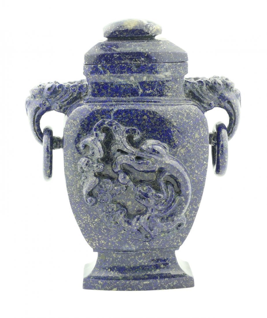 FINE LAPIS VASE AND COVER, CHINESE