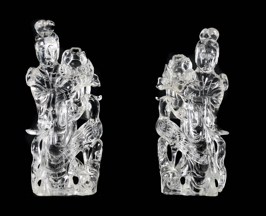 A PAIR OF ROCK CRYSTAL QUAN YIN, CHINESE