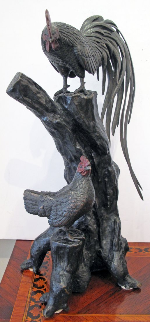 JAPANESE COLD PAINTED AND PATINATED BRONZE SCULPTURE - 2