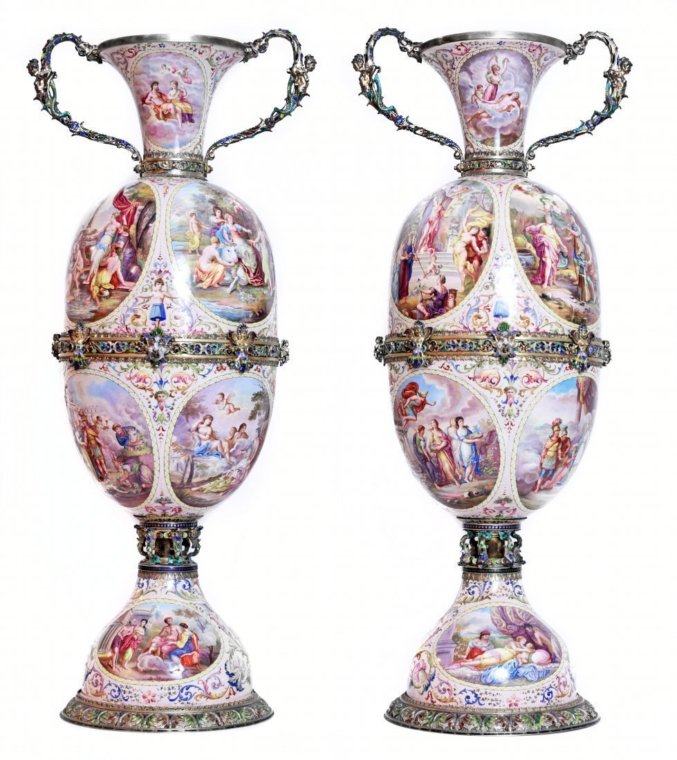 PAIR VIENNESE JEWELED SILVER MOUNTED ENAMEL VASES