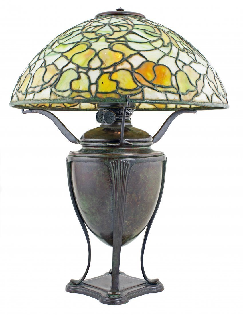 TIFFANY STUDIOS LEADED GLASS AND BRONZE BELL