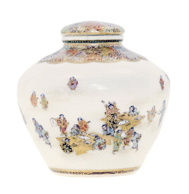 JAPANESE SATSUMA VASE AND COVER