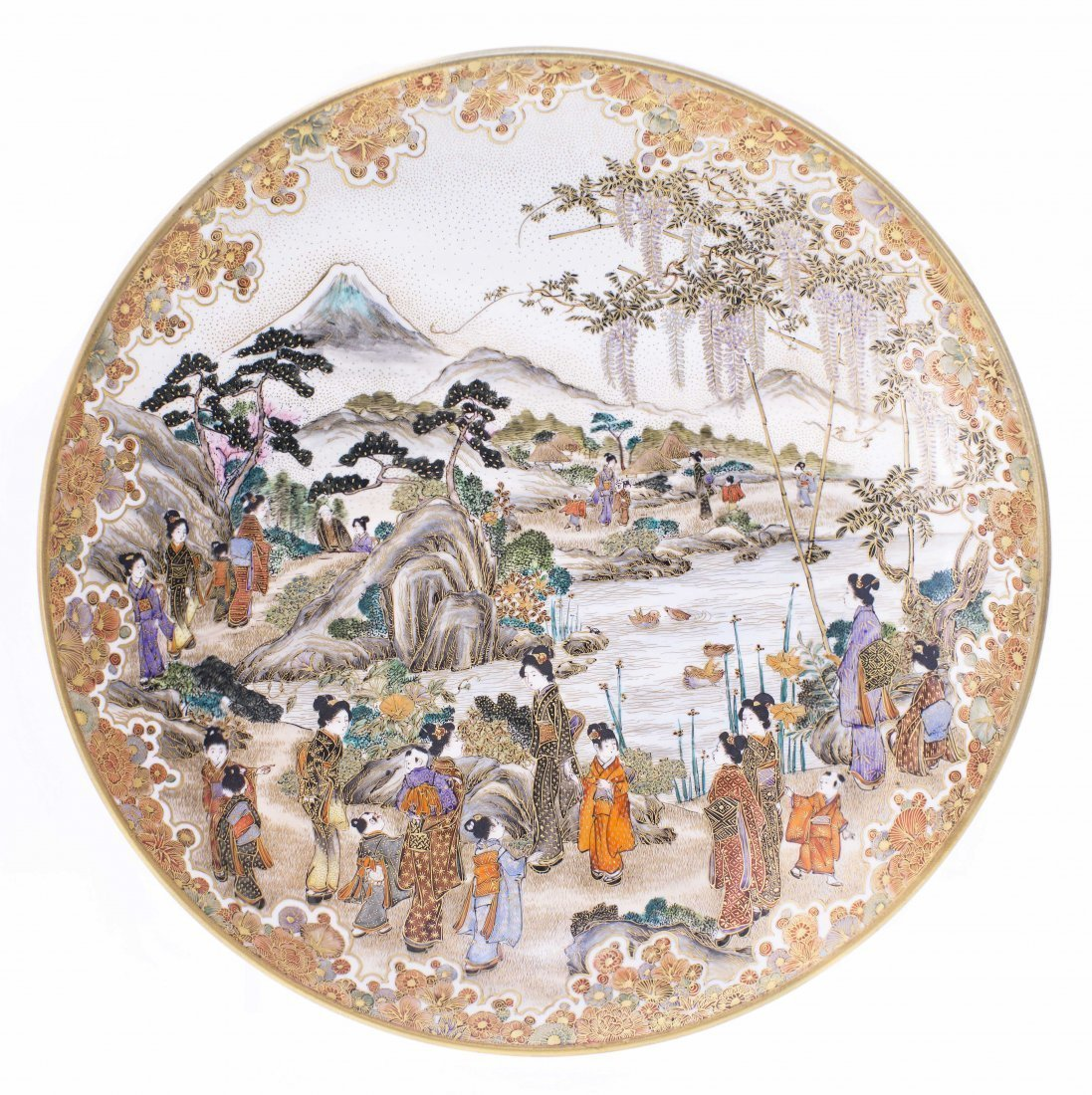 JAPANESE SATSUMA DISH, KINKOZAN ZO, MEIJI PERIOD