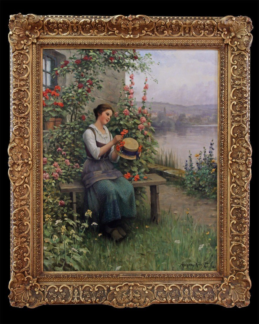 "DANIEL RIDGWAY KNIGHT ""TRIMMING HER SUNDAY HAT"""