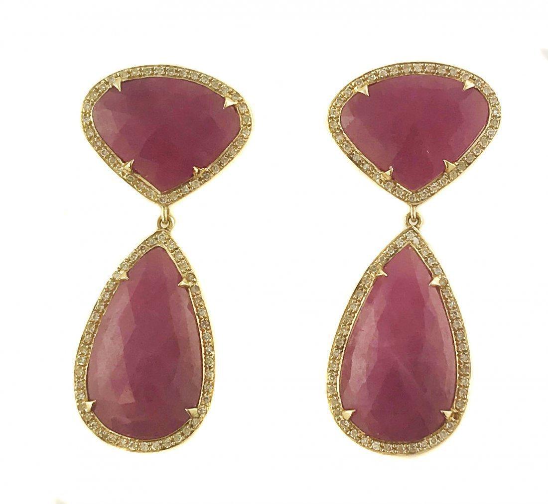 PAIR OF RUBY AND DIAMOND EARRINGS