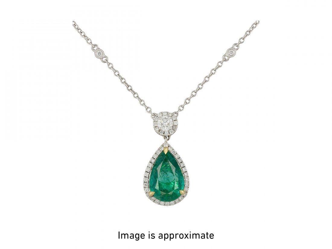 EMERALD AND DIAMOND PENDANT-NECKLACE