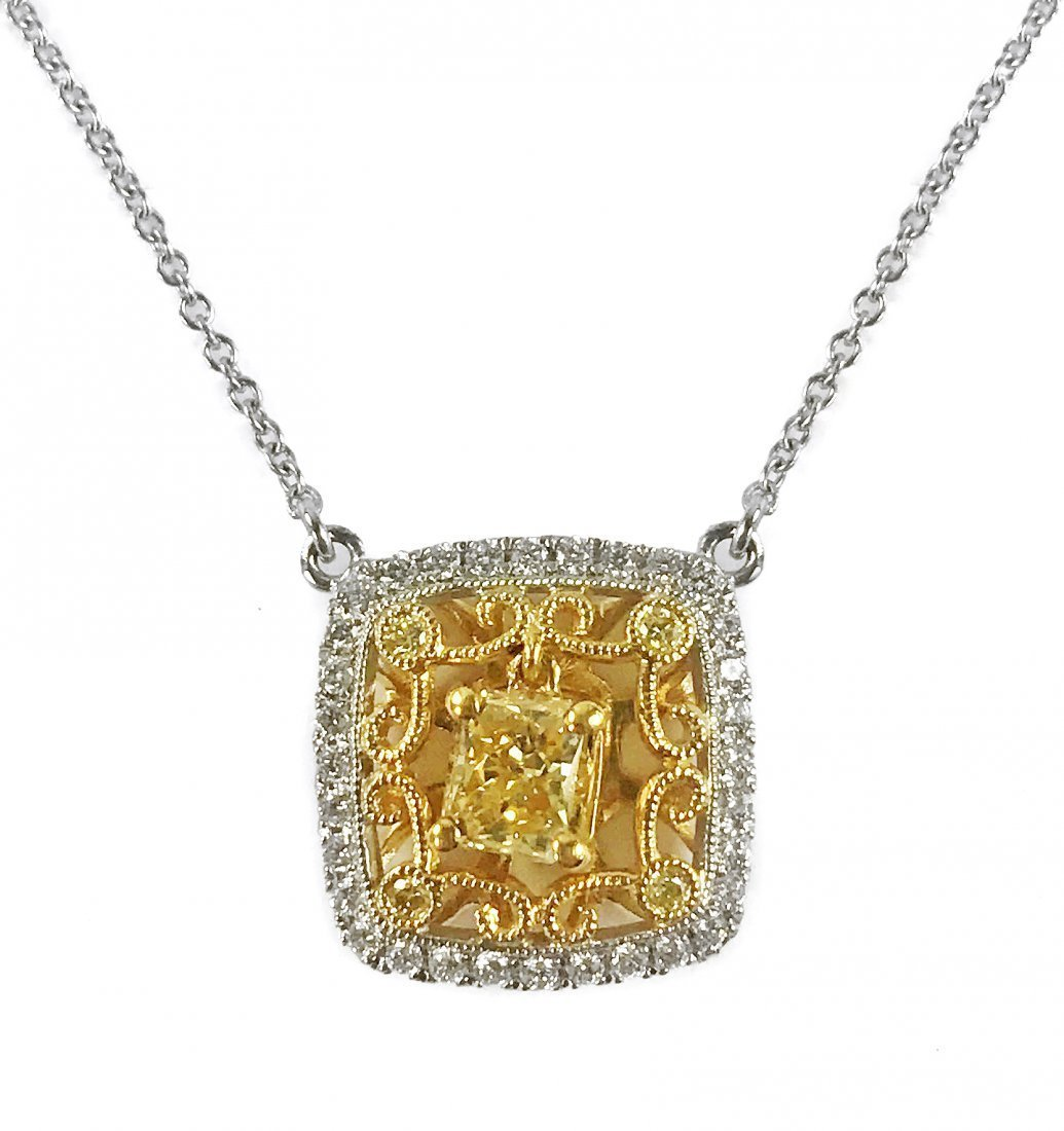 18 KARAT WHITE GOLD YELLOW DIAMOND PENDANT-NECKLACE