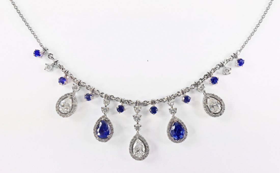 A GOLD, DIAMOND AND SAPPHIRE NECKLACE