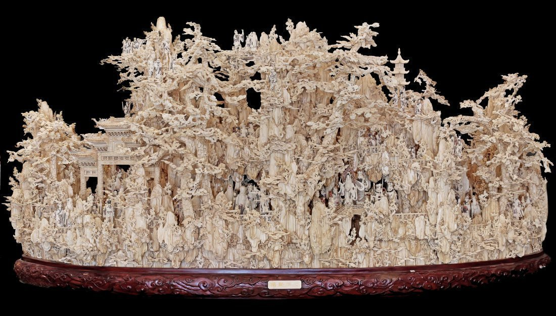 "A MASSIVE CARVED BONE MOUNTAIN, ""SHAN GRI LA"""