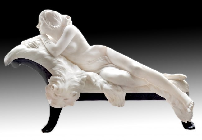 MARBLE FIGURE OF A RECLINING NUDE, 19TH CENTURY