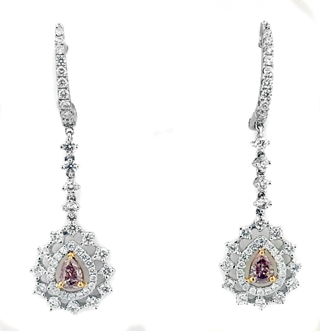 PAIR OF DIAMOND AND DIAMOND EARRINGS