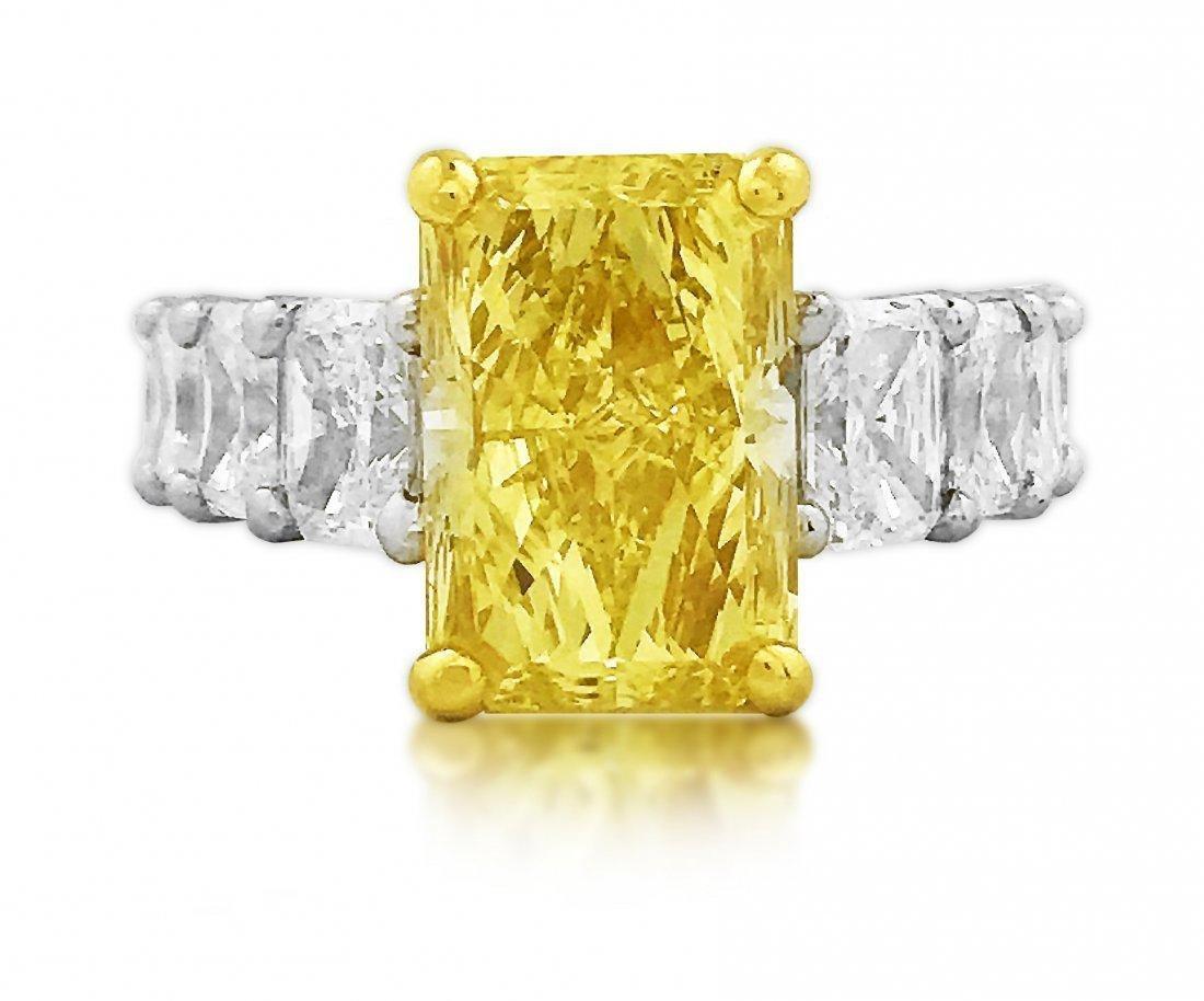 GIA CERTIFIED FANCY INTENSE YELLOW DIAMOND RING