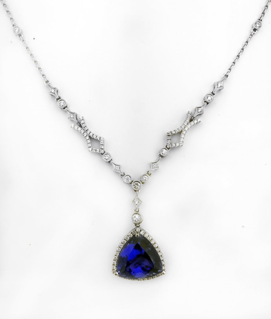 TANZANITE AND DIAMOND PENDANT-NECKLACE