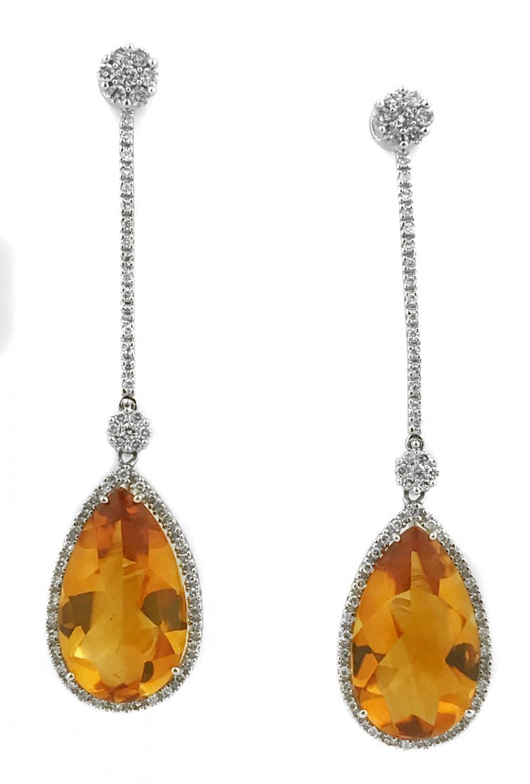 PAIR OF CITRINE AND DIAMOND EARRINGS