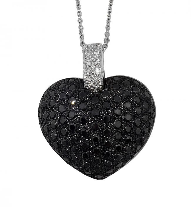 BLACK DIAMOND 'HEART' PENDANT NECKLACE