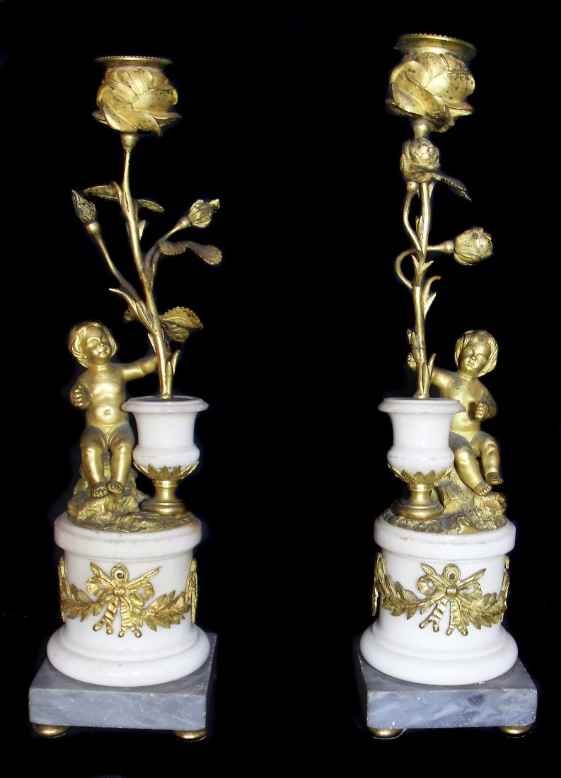 PAIR OF FRENCH GILT-BRONZE & WHITE MARBLE CANDLESTICKS