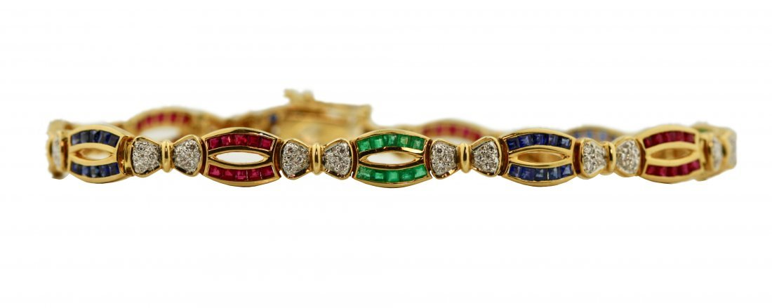 Multi-colored Stone and Diamond Bracelet