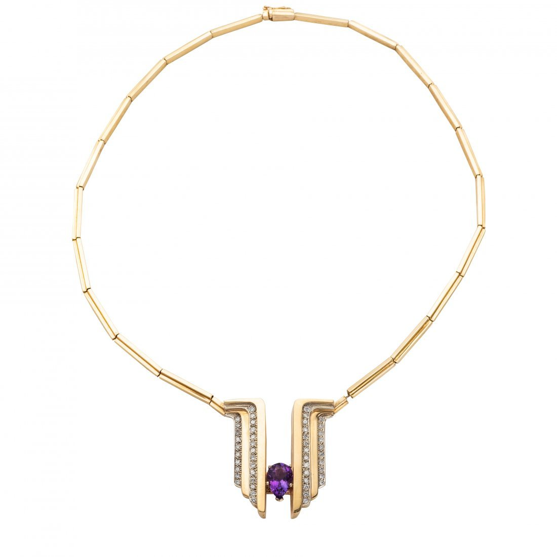 Vintage Gold, Diamond and Amethyst Necklace