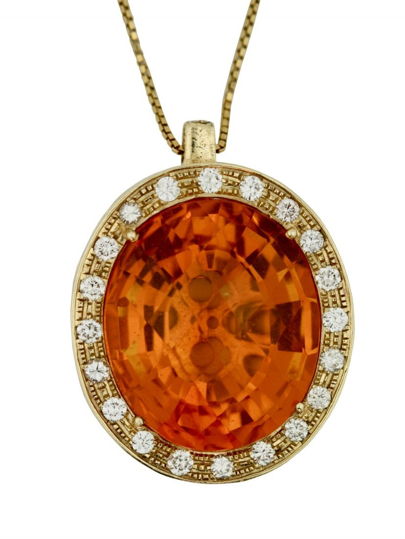 Gold, Citrine, and Diamond Pendant Necklace