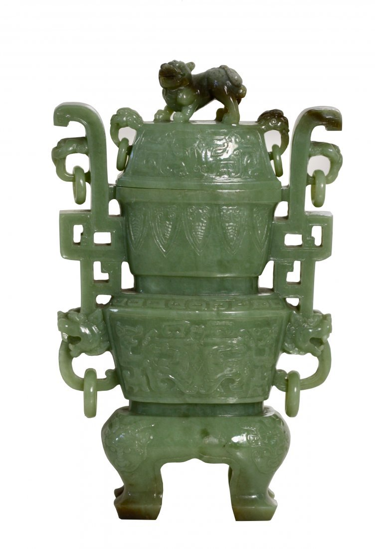 A Celadon Jade Vase and Cover, Chinese