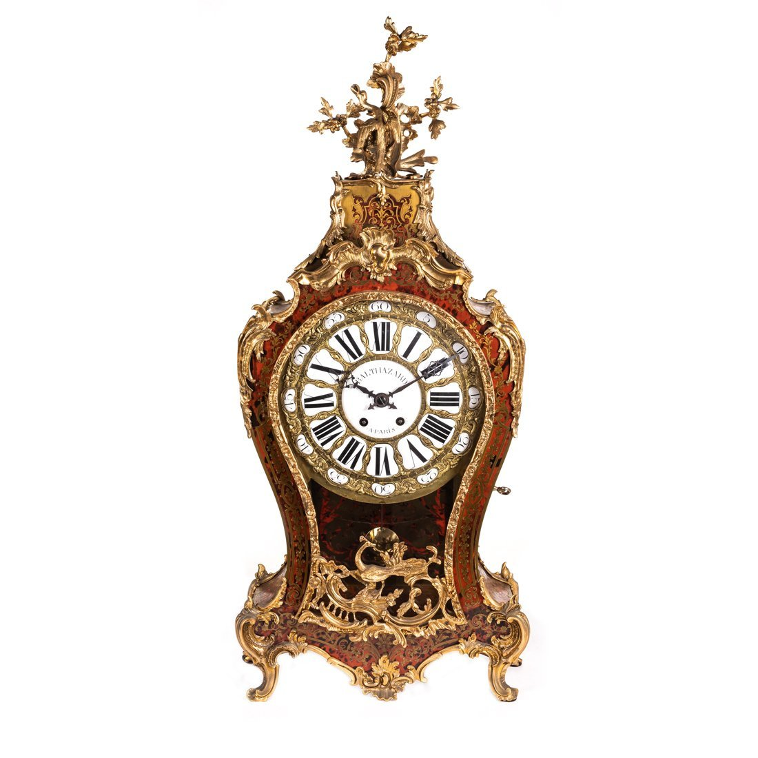 A Gilt-Bronze-Mounted Brass Inlaid Mantel Clock
