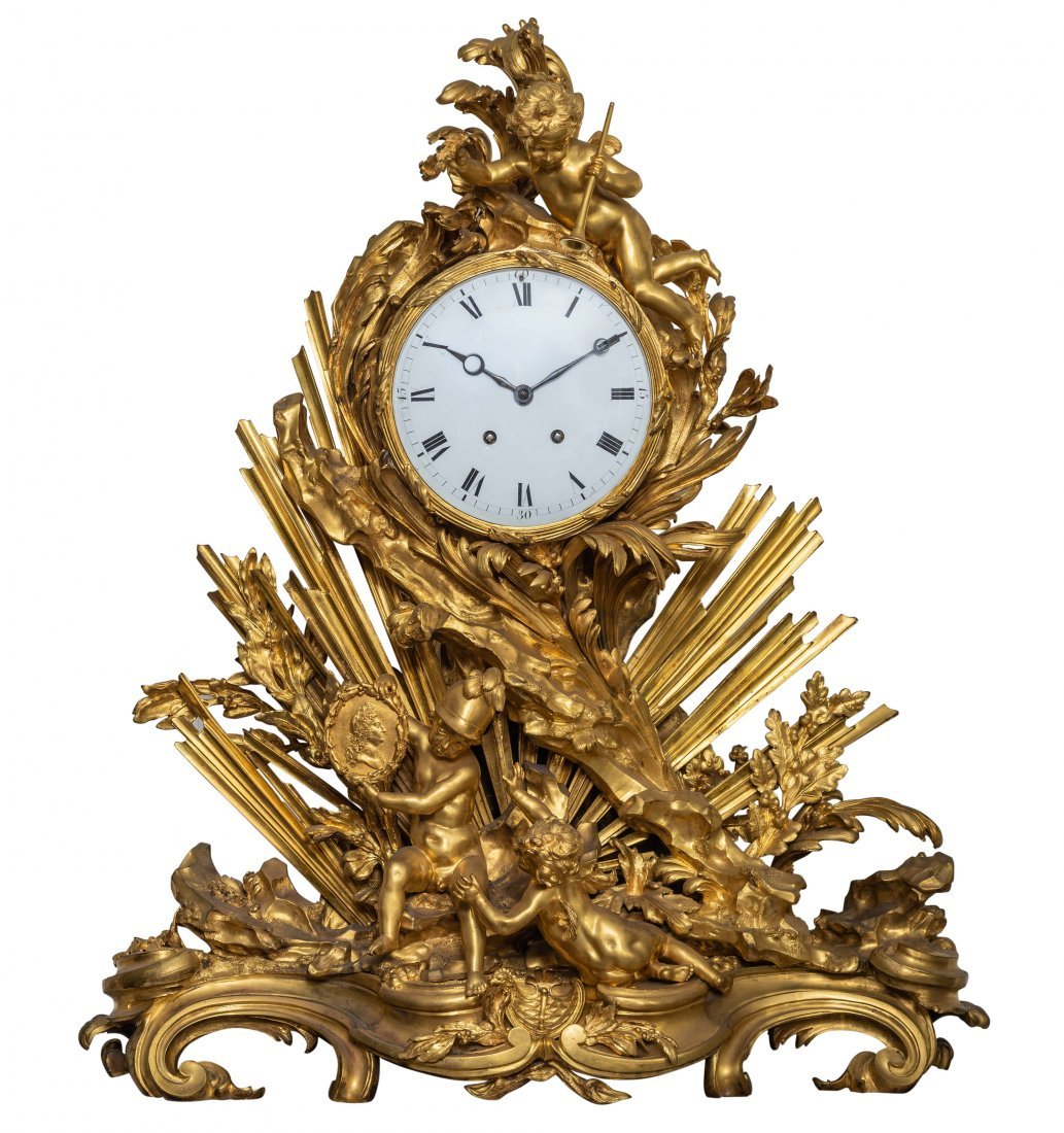 Impressive Louis XV Style Ormolu Mantle Clock