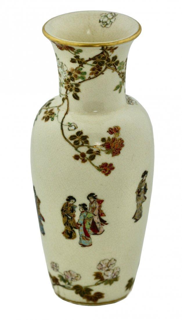 A Satsuma Earthenware Vase by Yabu Meizan,Osaka