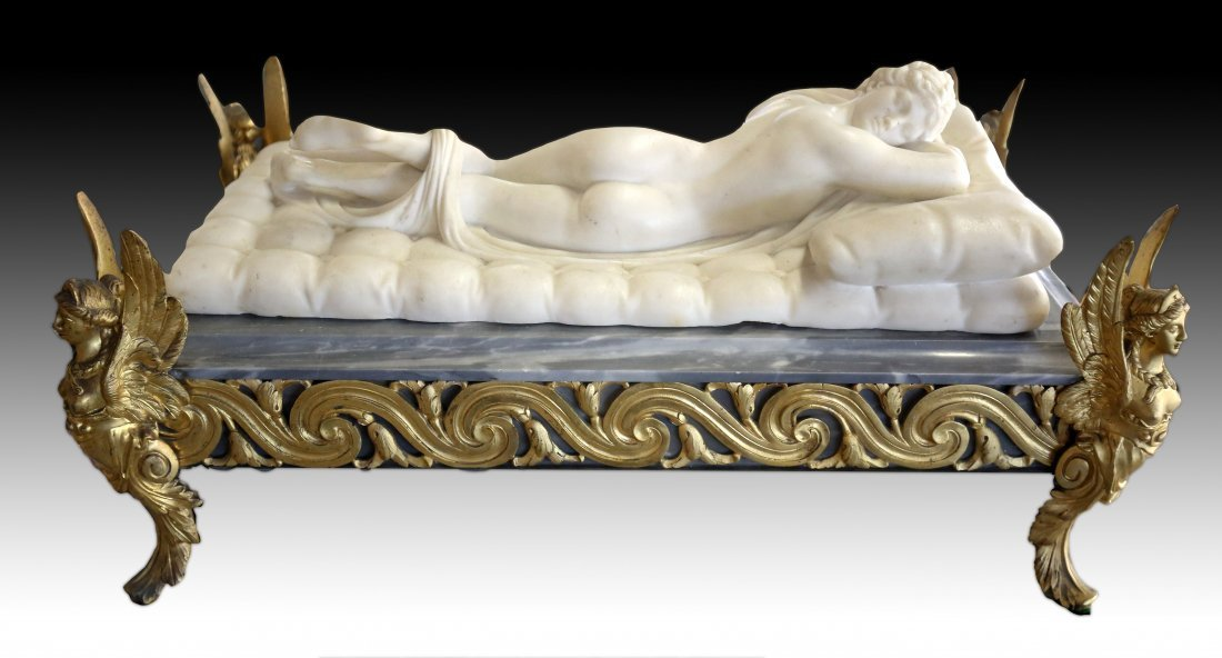 White Marble Figure of a Hermaphrodite Reclining