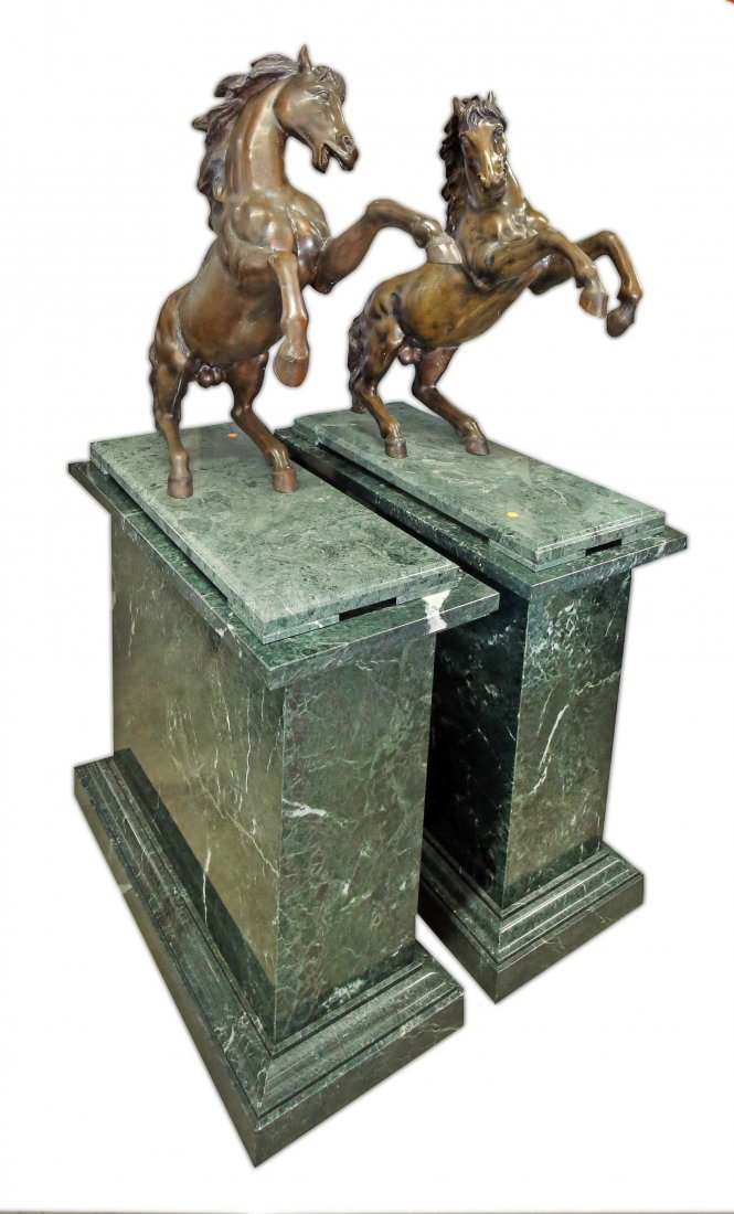LARGE PAIR OF BRONZE FIGURES OF REARING HORSES
