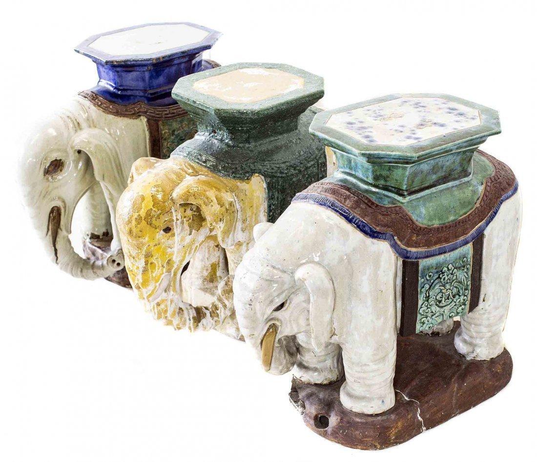 THREE CHINESE CERAMIC ELEPHANT-FORM GARDEN SEATS