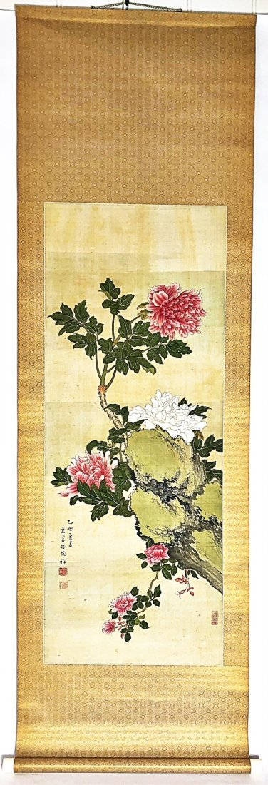 JAPANESE  FLORAL PAINTED SILK SCROLL