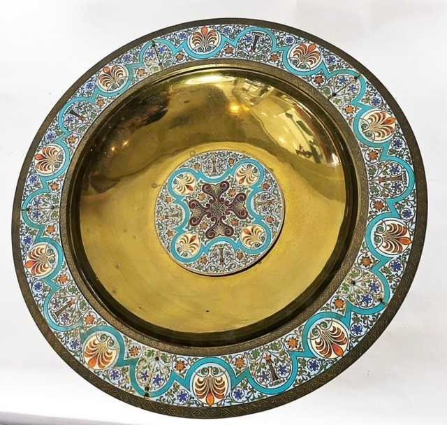 AESTHETIC MOVEMENT CHAMPLEVE ENAMEL ON BRASS BOWL