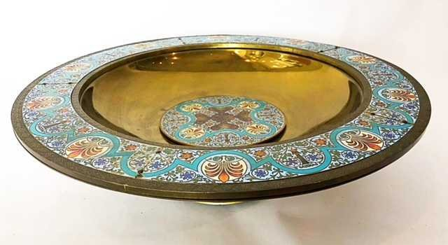 AESTHETIC MOVEMENT CHAMPLEVE ENAMEL ON BRASS BOWL - 2