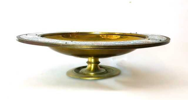 AESTHETIC MOVEMENT CHAMPLEVE ENAMEL ON BRASS BOWL - 3