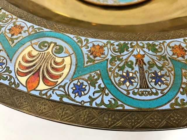 AESTHETIC MOVEMENT CHAMPLEVE ENAMEL ON BRASS BOWL - 4