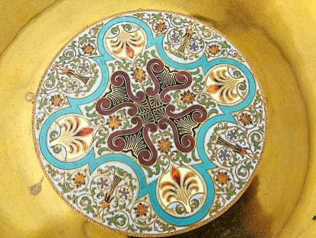 AESTHETIC MOVEMENT CHAMPLEVE ENAMEL ON BRASS BOWL - 6