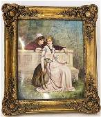 A painted earthenware plaque of a woman and suitor