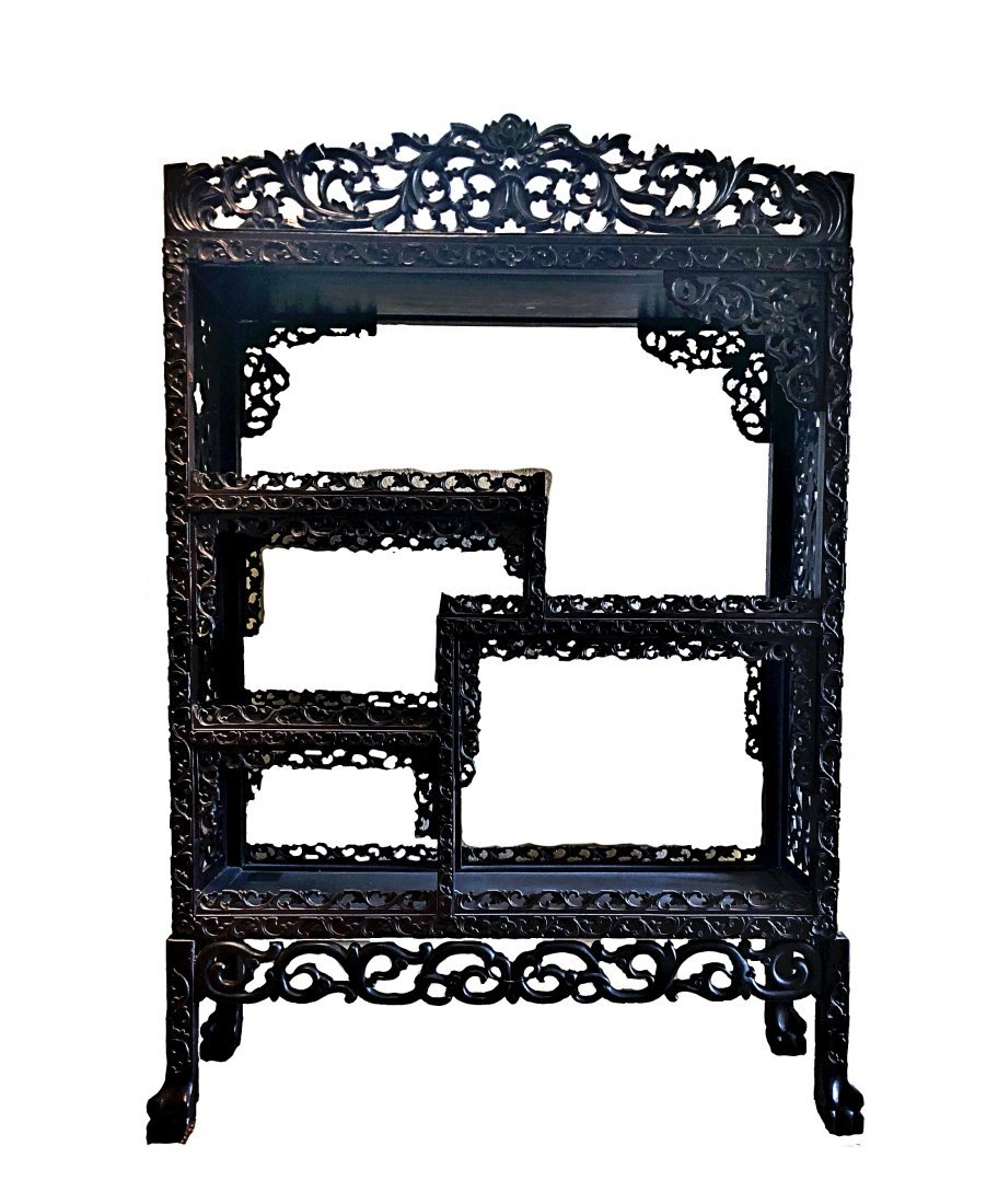 CHINESE SCROLL CARVED HARDWOOD SHELVING CABINET
