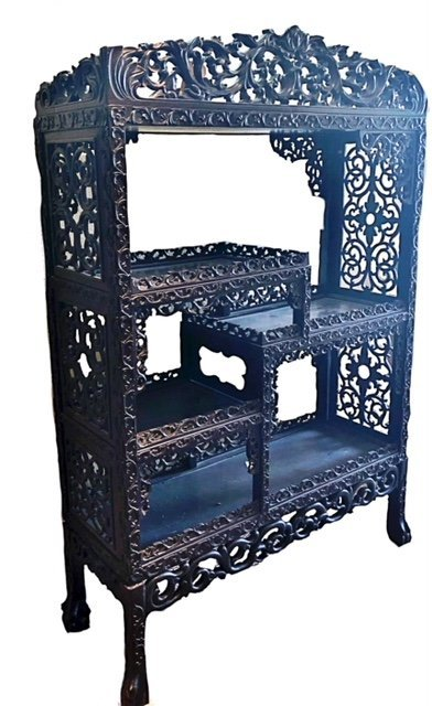 CHINESE SCROLL CARVED HARDWOOD SHELVING CABINET - 2