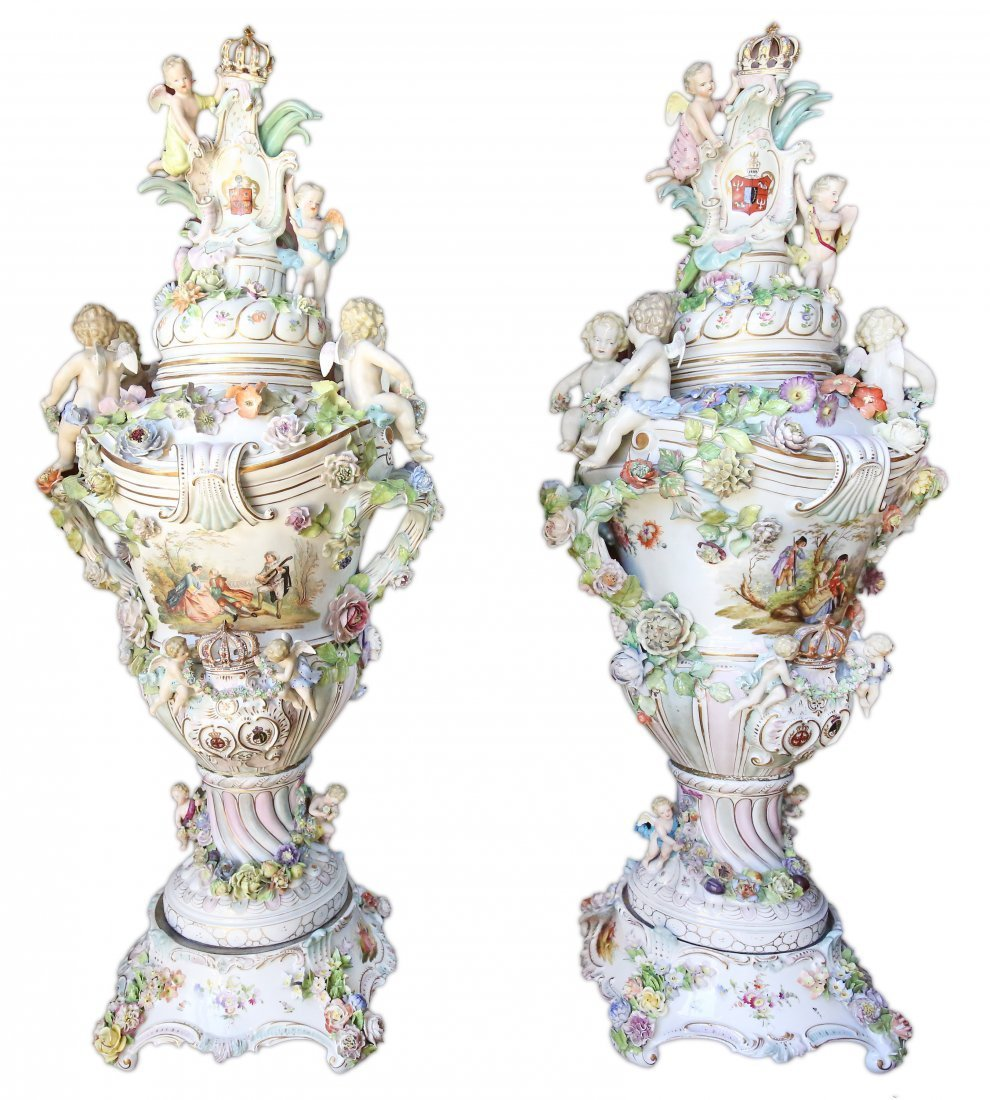 PAIR PALATIAL SIZE PAINTED WHITE GROUND PORCELAIN VASES