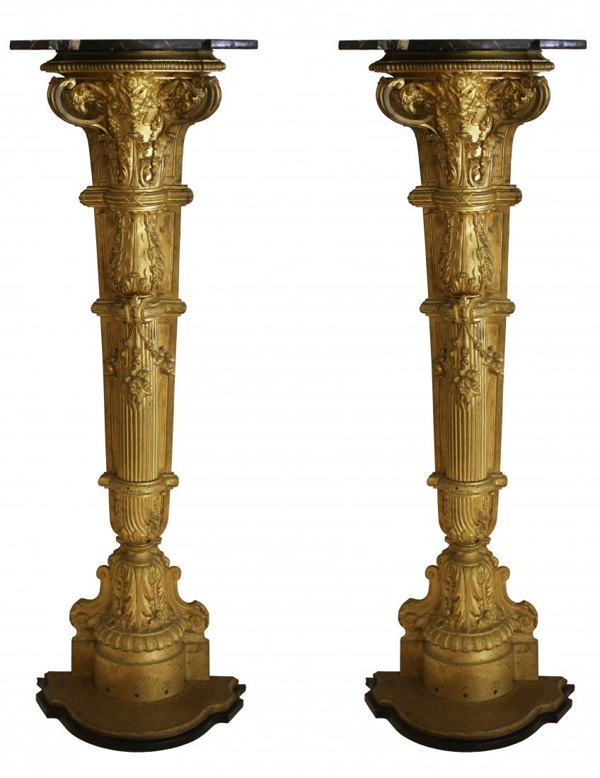 PAIR GILT-BRONZE AND MARBLE-TOP FIGURAL PEDESTALS