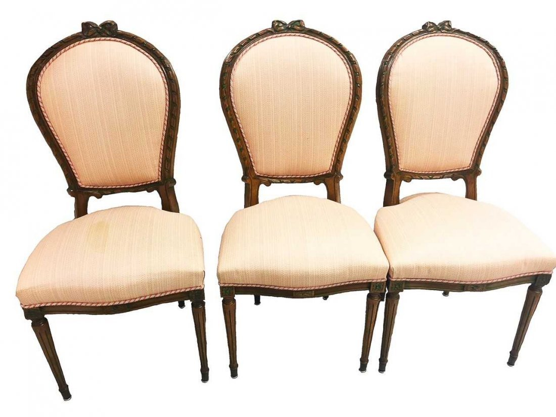 SET OF TEN LOUIS XVI STYLE MAHOGANY DINING CHAIRS
