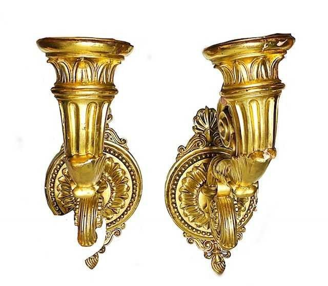 PAIR OF EMPIRE STYLE GILT WOOD SCONCES