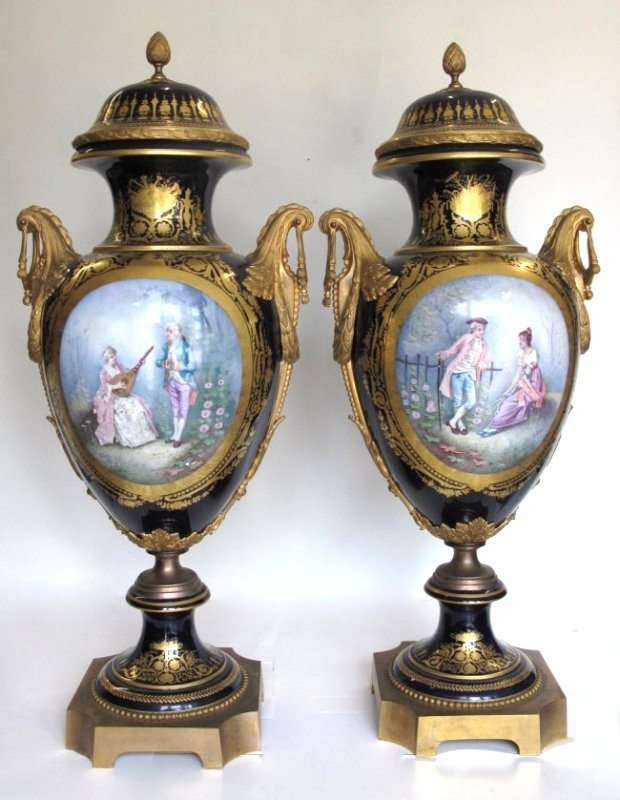 SEVRES STYLE GILT-BRONZE MOUNTED VASES AND COVERS