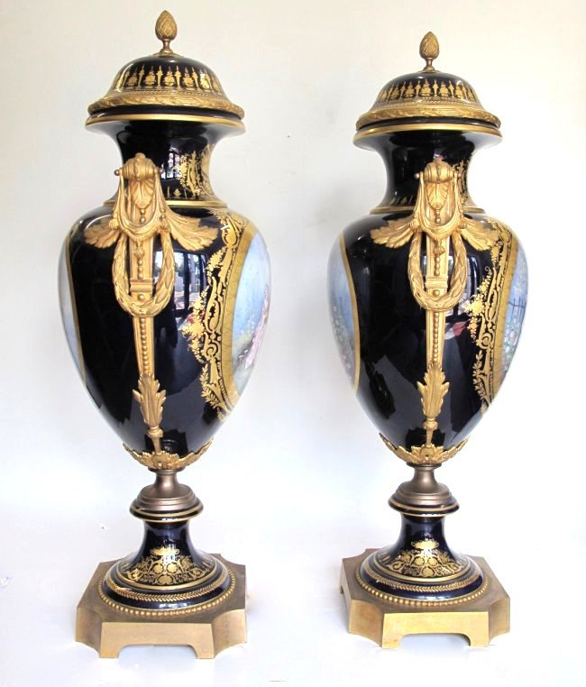 SEVRES STYLE GILT-BRONZE MOUNTED VASES AND COVERS - 4