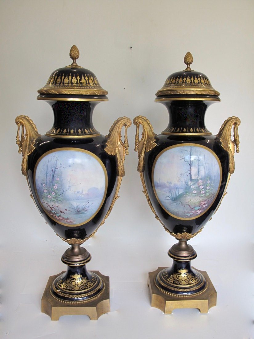 SEVRES STYLE GILT-BRONZE MOUNTED VASES AND COVERS - 5