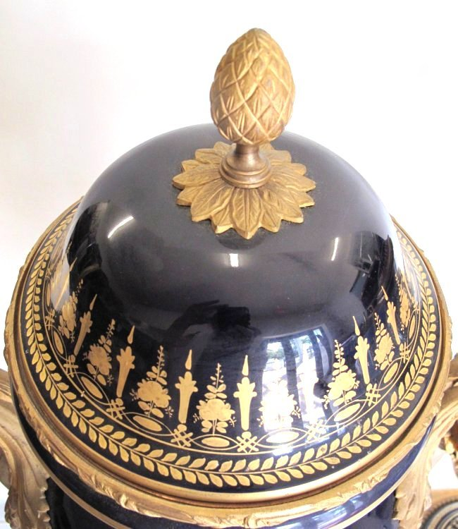 SEVRES STYLE GILT-BRONZE MOUNTED VASES AND COVERS - 6