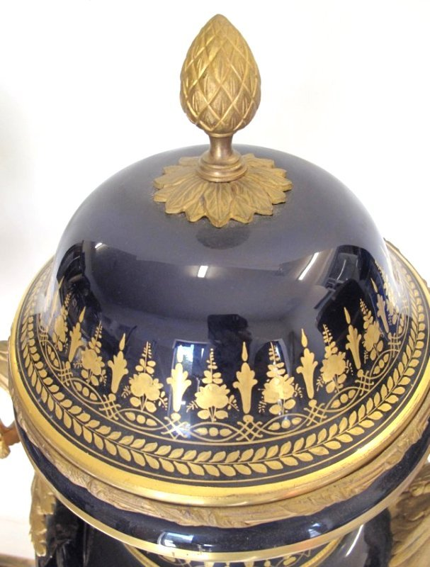 SEVRES STYLE GILT-BRONZE MOUNTED VASES AND COVERS - 7