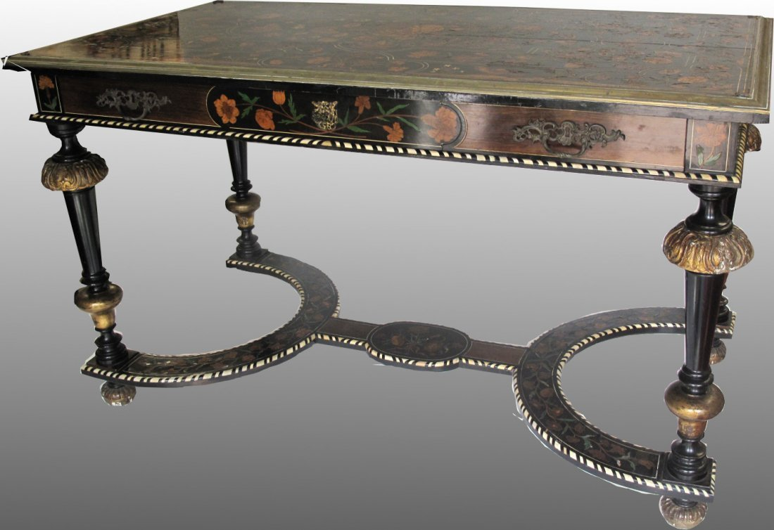 Louis XIV Style Gilt-Bronze Mounted & Inlaid  Table