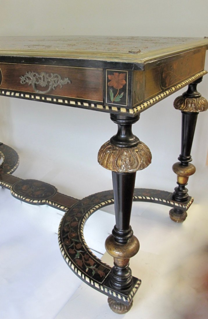 Louis XIV Style Gilt-Bronze Mounted & Inlaid  Table - 2